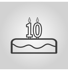 Cake with candles in the form of number 10 icon vector image