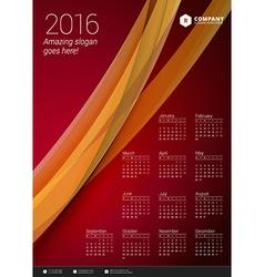 Calendar 2016 Design Template Week Starts Monday vector image
