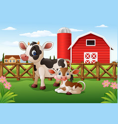 cartoon cow and calf with farm background vector image