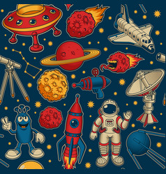 Cartoon space seamless pattern this design can vector