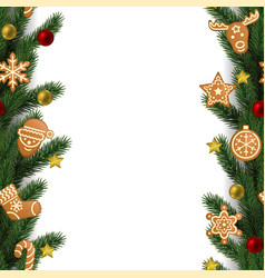 christmas and new year seamless vertical border vector image