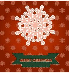 Christmas card with pink snowflake vector image