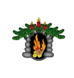 Christmas fireplace new year vector image