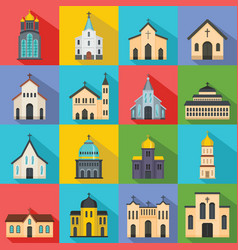 Church building icons set flat style vector