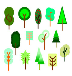 collection of tree cartoon stylenature vector image