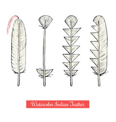 collection watercolor hand draw native vector image