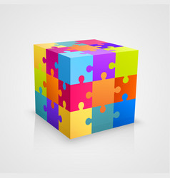 colored puzzle cube vector image