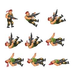 Commando dying game sprite vector
