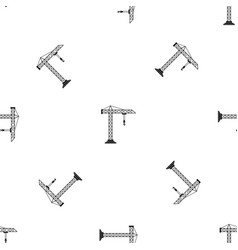 construction crane pattern seamless black vector image