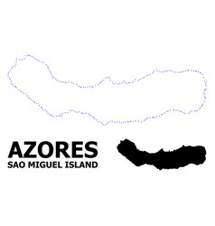 Contour dotted map sao miguel island vector