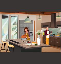 Couple preparing for thanksgiving dinner vector