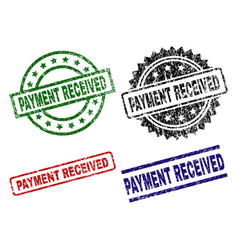 Damaged textured payment received seal stamps vector