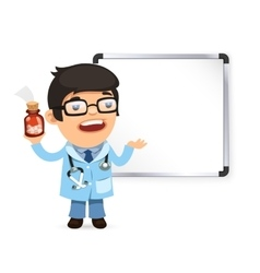 Doctor with pills in front of the whiteboard vector