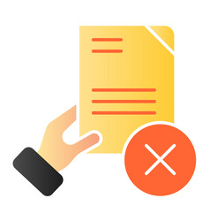 document fail flat icon quality control fail vector image