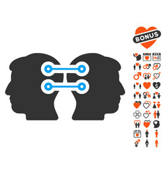 Dual heads interface connection icon with lovely vector