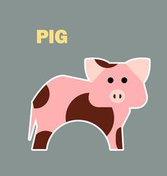 Farm animal pig simple vector