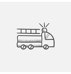Fire truck sketch icon vector image