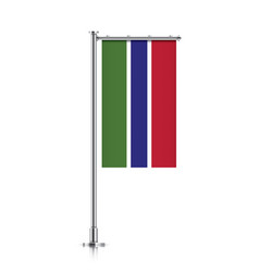 flag of gambia hanging on a pole vector image