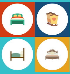 flat bedroom set of furniture bed crib and other vector image