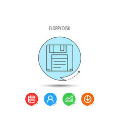 floppy disk icon retro data storage sign vector image