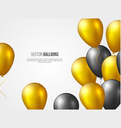 flying 3d glossy balloons in golden and black vector image