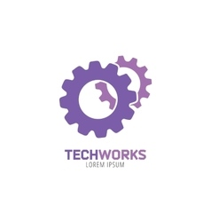 Gear logo icon template Machine progress vector image