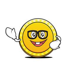 geek face coin cartoon character vector image