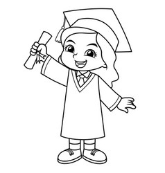 Girl graduation with toga and certificate bw vector