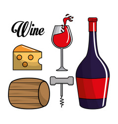 glass bottle of wine barrel cheese and take out vector image