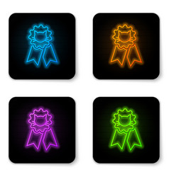 glowing neon cat award symbol icon isolated on vector image