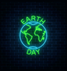Glowing neon sign of world earth day with globe vector