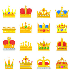 Gold crown king icons set nobility collection vector