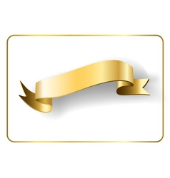 Gold satin ribbon on white 5 vector