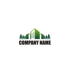 green building cityscape company logo vector image