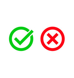 Green tick and red checkmark circle icons vector