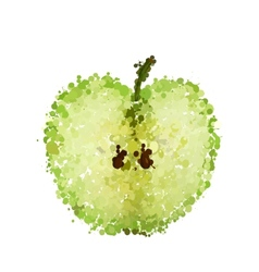 Half green apple of blots isolated vector