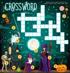 halloween crossword grid puzzle game for kids vector image