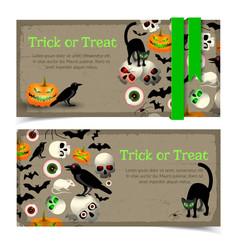 halloween elements banners vector image