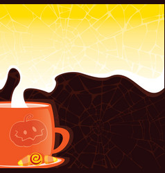 Halloween styled cup with a hot drink vector
