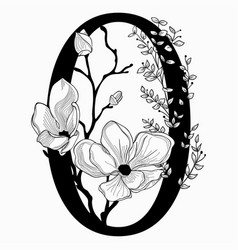 Hand drawn floral zero monogram and logo vector