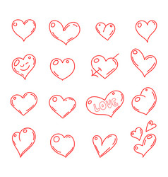 hand drawn hearts set heart vector image