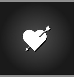 heart with arrow icon flat vector image