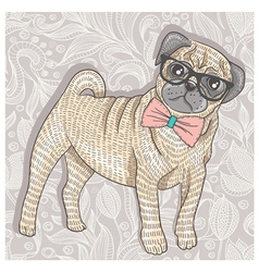 Hipster pug with glasses and bowtie vector image