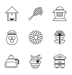 honey production icons set outline style vector image