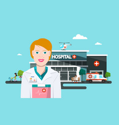 hospital building with doctor ambulance car and vector image