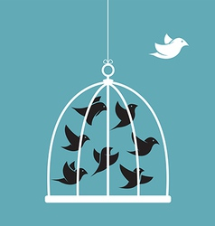 image a bird in cage and outside vector image