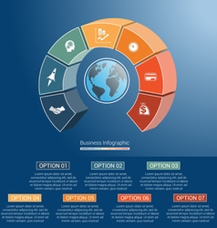 Infographic semicircle and globe numbered 7 vector