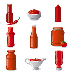 ketchups and sauces vector image