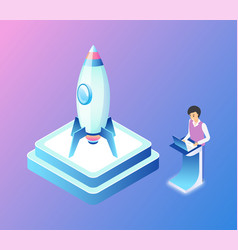 Launching rocket man with business project vector