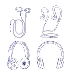 Line earphones and headphones isolated on white vector